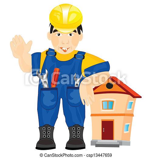 Clipart Vector of Man builder - Illustration men worker on white ...