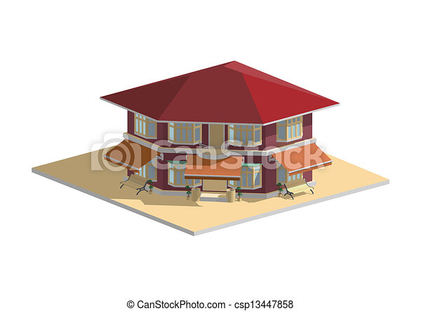 Residential house cafe purple - csp13447858