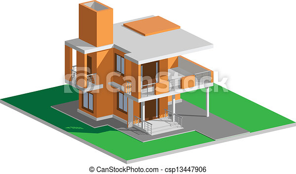 Residential house modern red - csp13447906