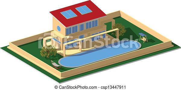 Residential house modern yellow - csp13447911