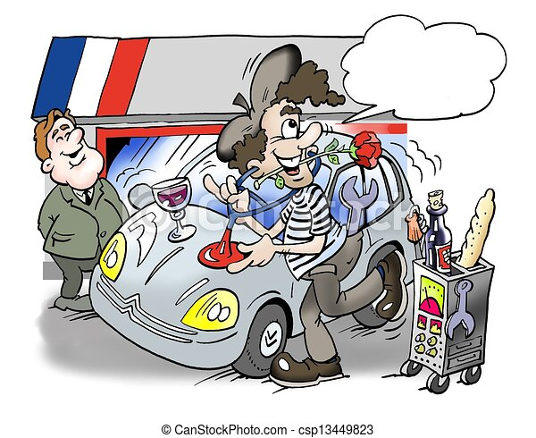 A French man repairs the car - csp13449823