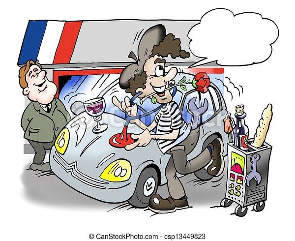 A French man repairs the car - csp13449823