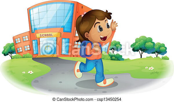 Clipart Vector of A girl going home from school ...