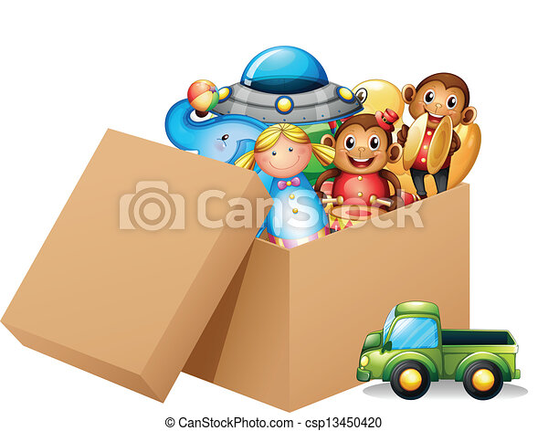 Illustration of A box full of different toys - Illustration of a box ...