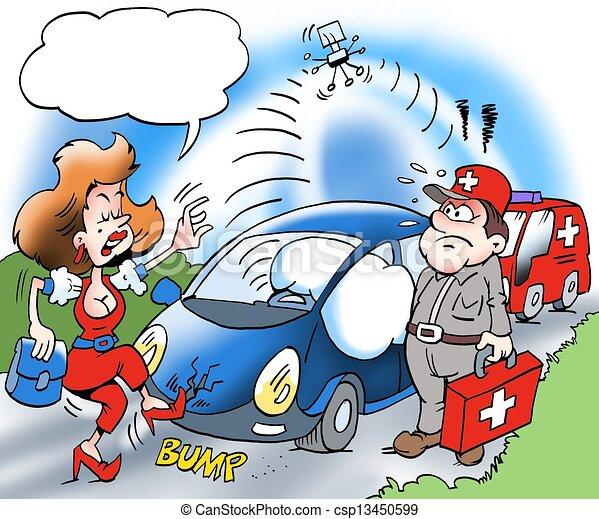 Un, coche, dueño, llamada, Zona lateral de camino, ayuda - csp13450599