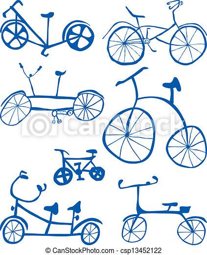 Doodle Bicycles Cutout - csp13452122