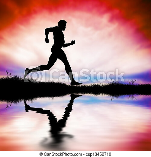 Silhouette of man running at sunset - csp13452710