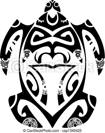 Maori tribal turtle - Tattoo style - csp1345425