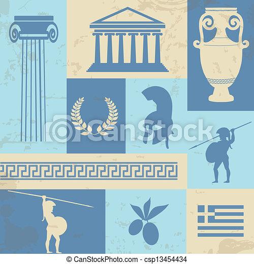 Greece symbols and landmarks on retro poster - csp13454434