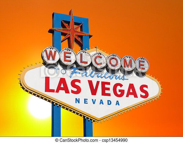 Las Vegas Sign with Sunset Sky - csp13454990