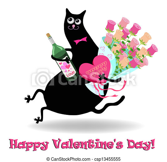 Valentine's day card with cat - csp13455555