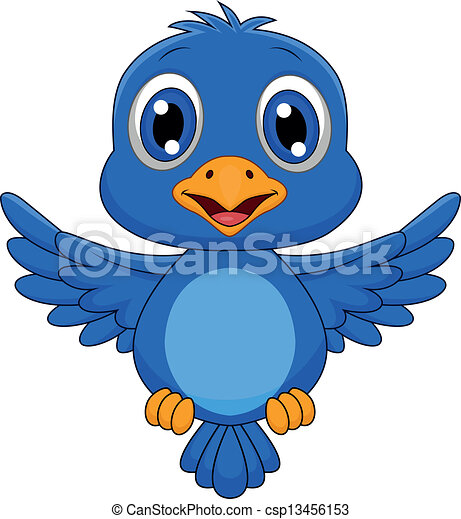 Cute blue bird cartoon flying - csp13456153