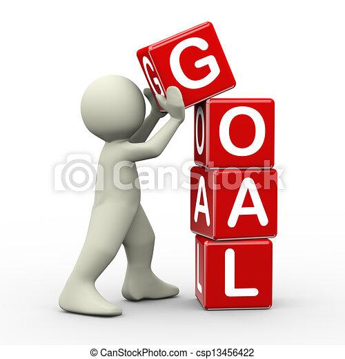 3d man placing goal cubes - csp13456422
