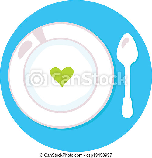Healthy soup with heart isolated on blue circle background - csp13458937