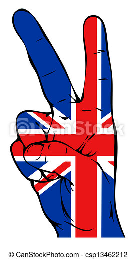 Peace sign with British flag - csp13462212