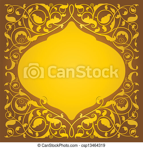 Islamic floral art in gold version - csp13464319