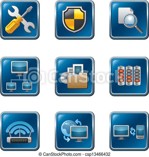 computer network icon set - csp13466432