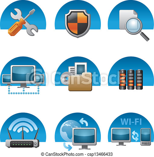 computer network icon set - csp13466433