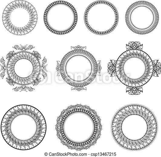 decorative-round-frame-beautiful-vector-snowflake-patterned-design ...
