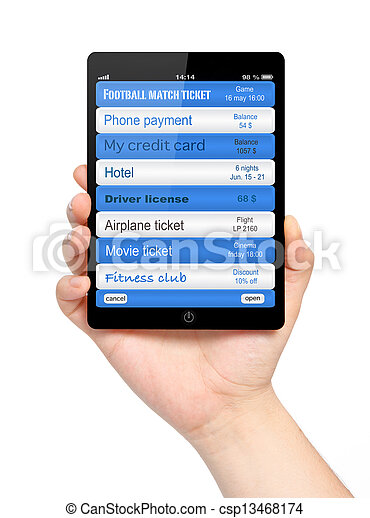 isolated businessman hand holding tablet computer and manage virtual wallet mobile banking - csp13468174