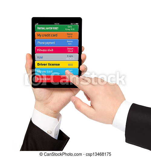 isolated businessman hands holding tablet computer and manage virtual wallet mobile banking booking - csp13468175
