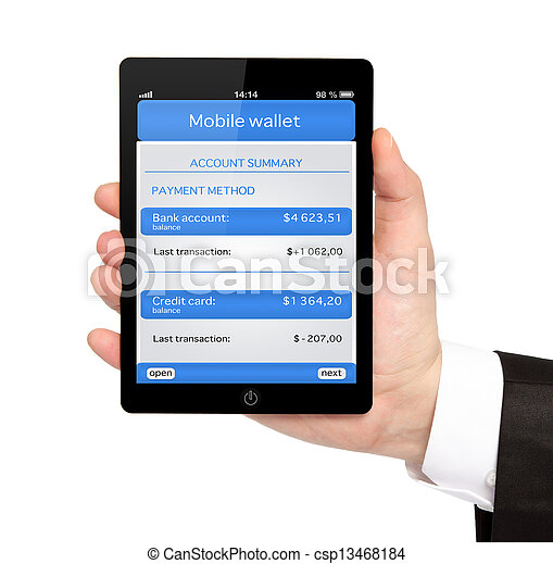 isolated businessman hand holding a tablet computer with mobile wallet and banking transaction on a screen - csp13468184