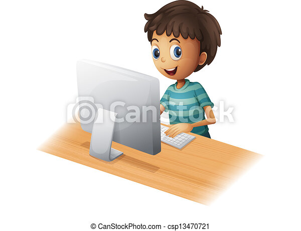 A boy playing computer - csp13470721