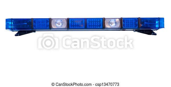 isolated police emergency light roof bar - csp13470773