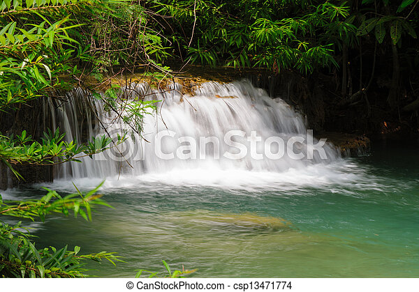 Beautiful waterfall in rainforest , Kanchanaburi Province , Thai - csp13471774