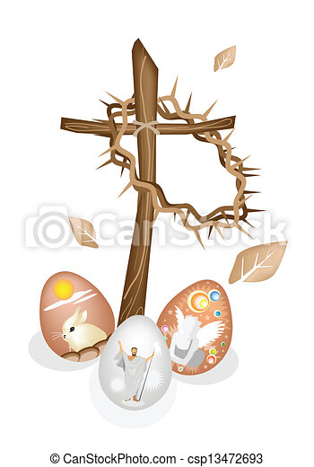EPS Vectors Of Wooden Cross And A Crown Of Thorns With