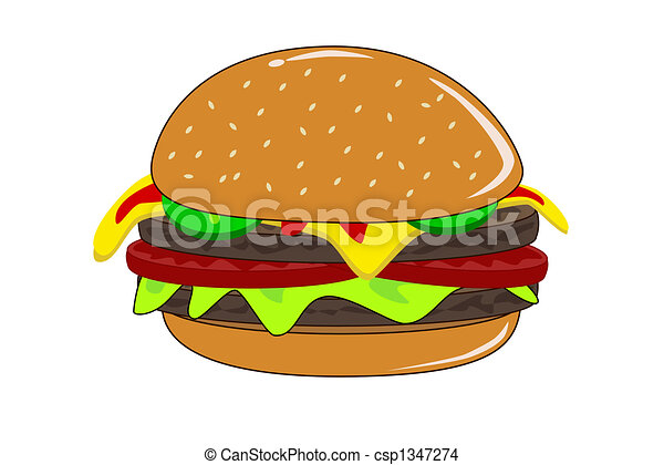 Stock Illustration - Cheese burger with lettuce and pickles - stock ...
