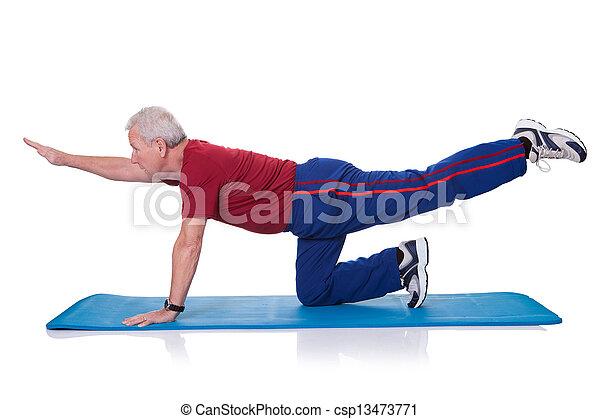Portrait Of Senior Man Exercising - csp13473771