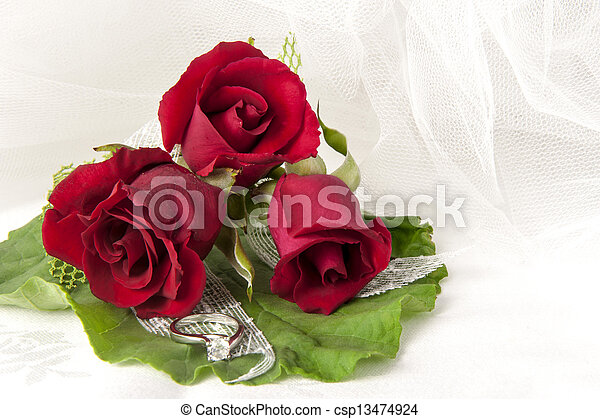 red roses and wedding rings - csp13474924