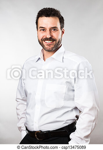 Waist up portrait of a mature adult Caucasian man - csp13475089