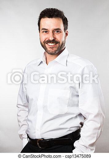 Waist up portrait of a mature adult Caucasian man - csp13475089
