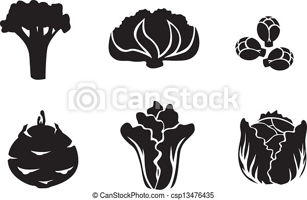 Vectors of Cabbage set - Set of silhouette images of different ...