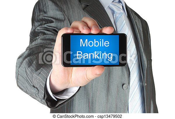 Businessman holds smart phone with mobile banking words on its screen isolated on white background.   - csp13479502