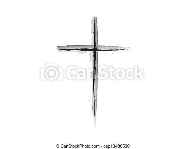 Religious Cross Grunge Design B & W - csp13480530