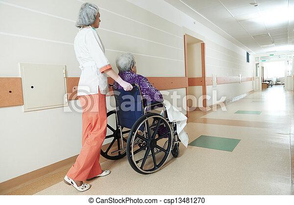 Nurse with elderly patient in wheelchair - csp13481270