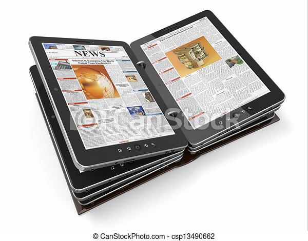 stock illustration von zeitung oder zeitschrift von tablette pc 3d csp13490662 suchen. Black Bedroom Furniture Sets. Home Design Ideas