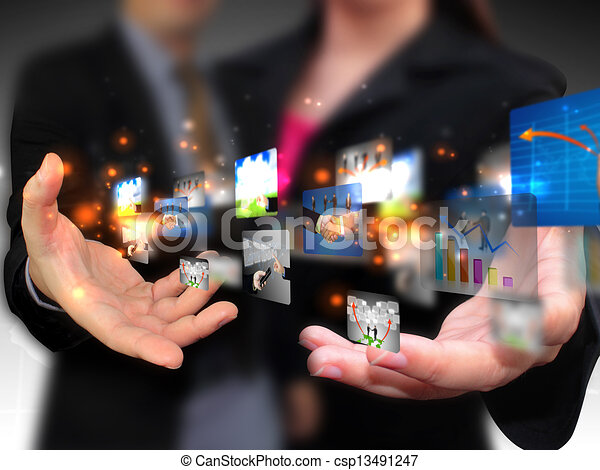 Business people holding social media - csp13491247