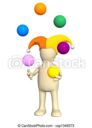 3d clown - puppet, juggling with balls - csp1349373