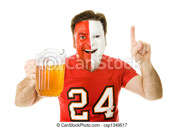 Sports Fan with Beer - csp1349517