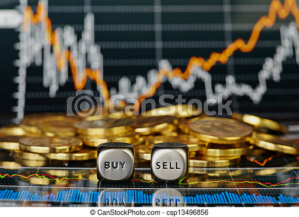 Dices cubes with the words SELL BUY and the golden coins. Financial chart as background. Selective focus - csp13496856