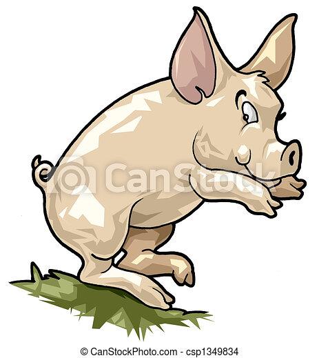 Smiling pig. Cartoon style - csp1349834
