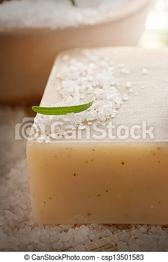 Spa setting with bath salt and soap - csp13501583