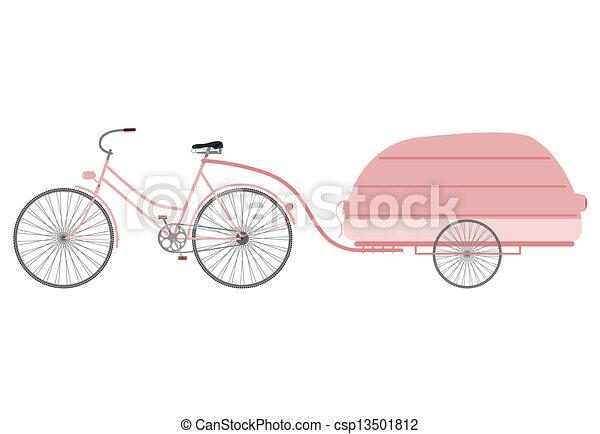Bike with Trailer Clip Art