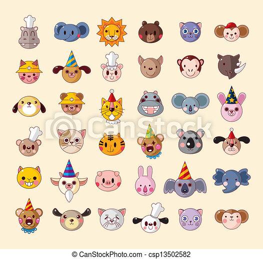 set of animal head icons - csp13502582