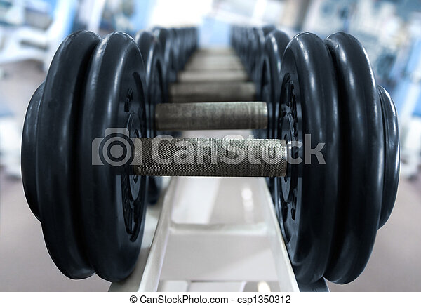 barbell on blue background - csp1350312