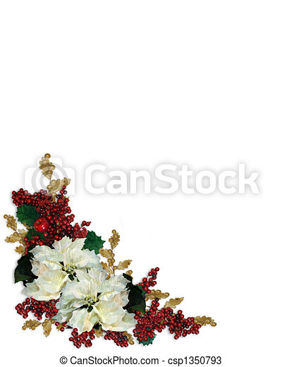 Christmas Border White Poinsettias - csp1350793